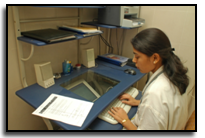 Hospital databases maintain details of patients, doctors and treatments.