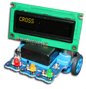 A Microbot being used as a set of traffic lights